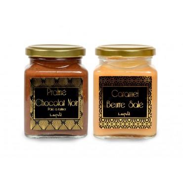 Duo Caramel beurre salé et Praliné-chocolat