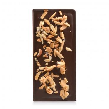 Tablette chocolat sans sucres noir aux éclats d'amandes