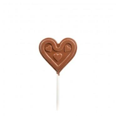 sucette chocolat lait coeur face